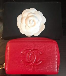 New Authentic Chanel Red Zip Around Card Holder/ Coin case