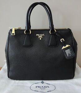 Authentic New Prada BN2420 Double Zipper Vitello Daino Handbag Nero