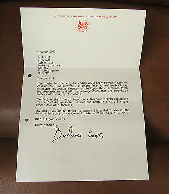 Political Collectors Letter from Baroness Barbara Castle 1999. UK P&P inc