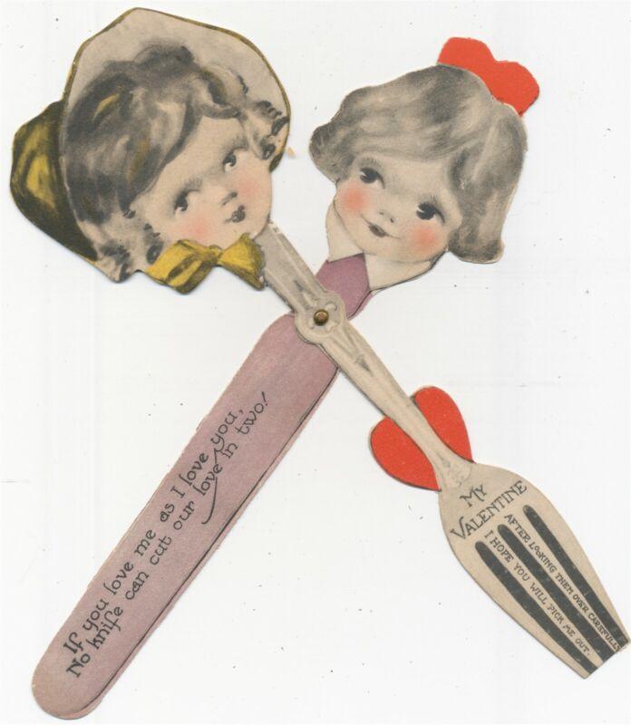 Anthropomorphic Knife And Fork Valentine 1930