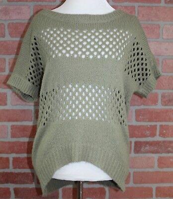 - Gianni Bini Womens Sage Green Short Sleeve Open Knit Hi Low Sweater Size Medium