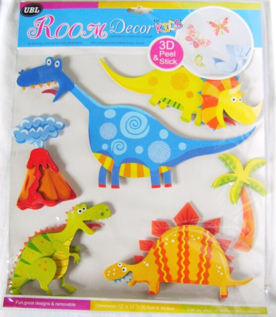 NEW 3D KIDS ROOM WALL STICKERS DINOSAURS & VOLCANO UBL