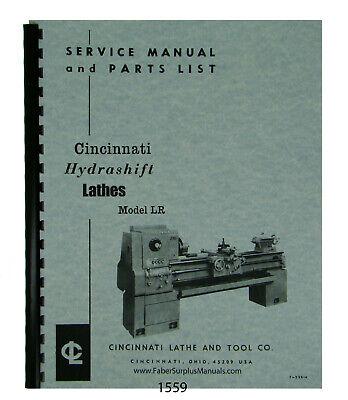 Cincinnati Lr Hydrashift Lathe 10 To 26 Op Service Parts List Manual 1559