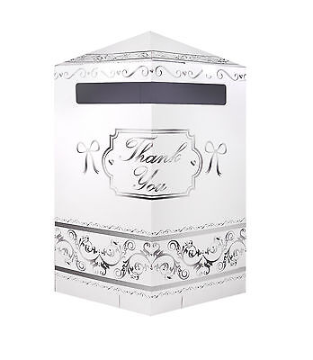 New Wedding Post Box Gifts Thank You Card Mailbox White & Silver UK SELLER