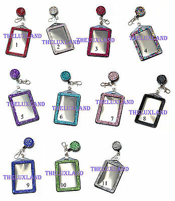 Rhinestone Retractable Badge Reel and Vertical ID Card Holder Combo Set