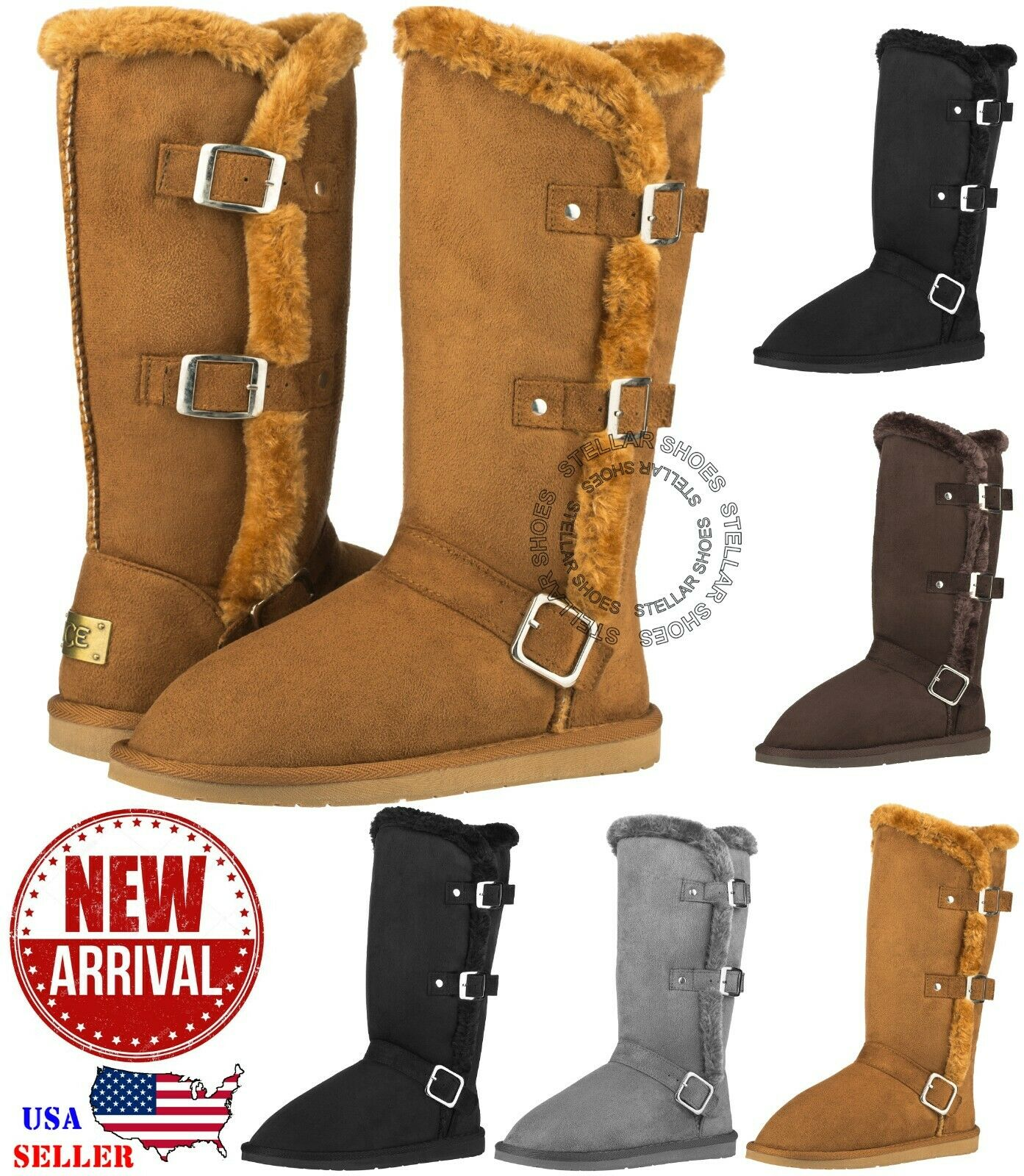 NEW Women's Winter Snow Boots with Buckles Vegan Leather Mid