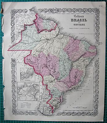 1855 LARGE ANTIQUE MAP-COLTON- BRAZIL AND GUAYANA