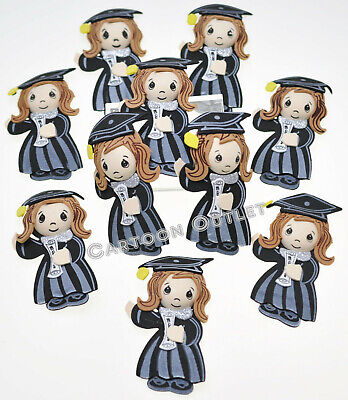 10 pc GRADUATION FOAM GIRL DECORATION CENTERPIECE GIRL RECUERDOS CAP & GOWN - Graduation Caps Decorated