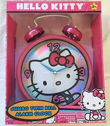 Hello Kitty Twin Bell Pink jumbo HANGING OR STAND ALARM CLOCK - New