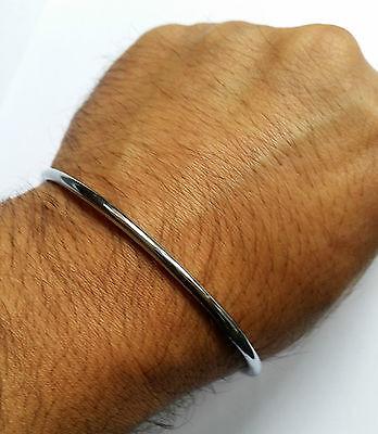 Stunning Smooth Chrome Plated Smooth Thin Sikh Singh Khalsa Kara Bracelet Kada