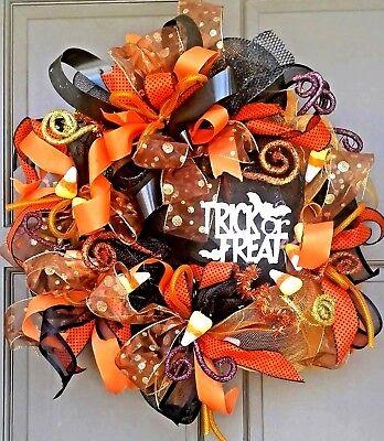 Halloween Fall Autumn Lit Deco Mesh Trick or Treat Wreath Lighted LED Door Decor