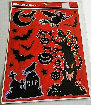 HALLOWEEN Window Clings  SCARY HALLOWEEN CREATURES Bats/Haunted - Scary Trees