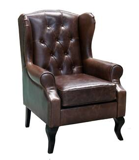 Wingback Armchair in Vintage brown leather ONLY $990ea