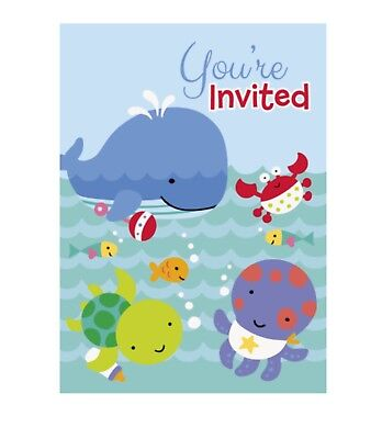 "8 ""UNDER THE SEA PALS"" Baby Shower 1st Birthday Party Supplies INVITATIONS - Under The Sea Baby Shower Invites"