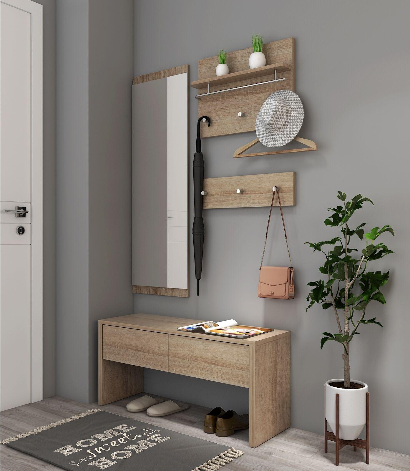 4 teilig garderobe set flurgarderobe spiegel wandgarderobe. Black Bedroom Furniture Sets. Home Design Ideas