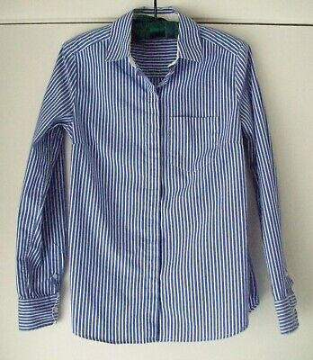 H & M Blouse Shirt 4 Blue White Stripe Button Front Fitted Long Sleeve Stretch