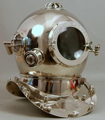 Vintage Anchor Silver Morse Divers Boston Diving Scuba Divers Navy Deep Helmet