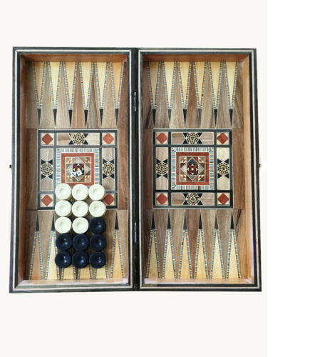 Syrian Mosaic Handcrafted Backgammon and chess board, game pieces included