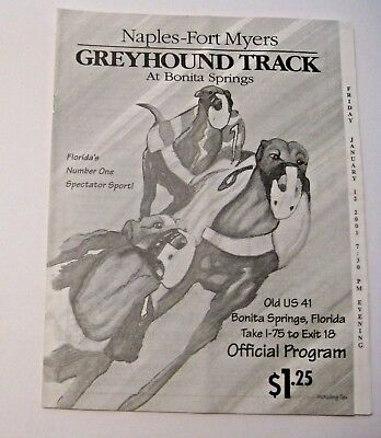 VINTAGE 2001 SPORTS GREYHOUND DOG RACING RACE TRACK PROGRAM ~ FLORIDA