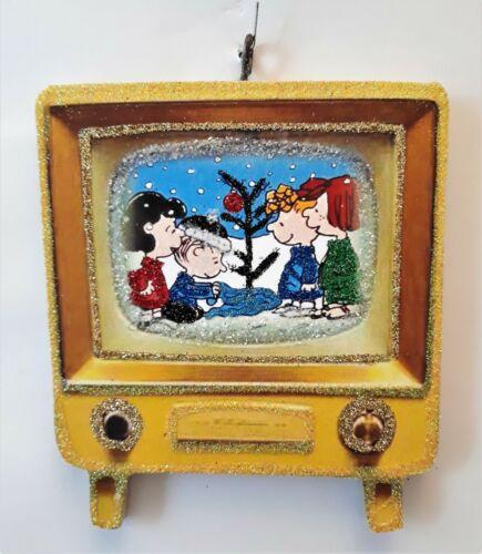 RETRO TELEVISION - PEANUTS LUCY, LINUS, SALLY -TREE * Glitter CHRISTMAS ORNAMENT