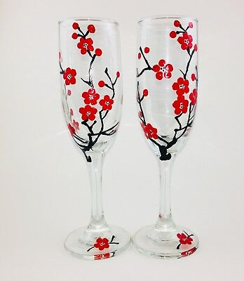 New Hand Painted Champagne Flutes Set of 2 Unique Hand Painted Glassware (Unique Champagne Flutes)