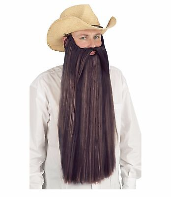 Extra Long Beard With Attached Mustache Adult Costume Accessory, One Size, Brown - Halloween Costumes With Mustache