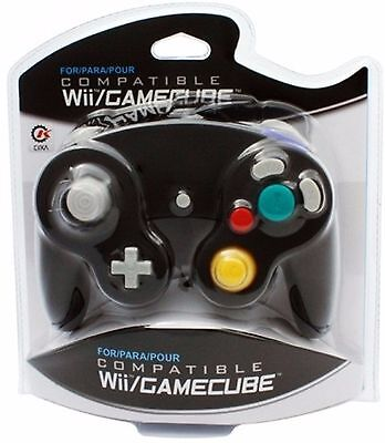 BRAND NEW CONTROLLER FOR THE NINTENDO GAMECUBE OR Wii (BLACK) IN BOX