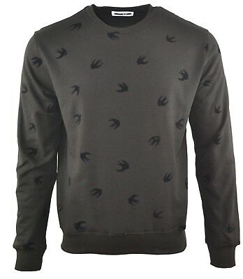 MCQ VELOUR SWALLOW SWEATSHIRT JUMPER  BLACK ALEXANDER MCQUEEN BIRD PRINT RARE