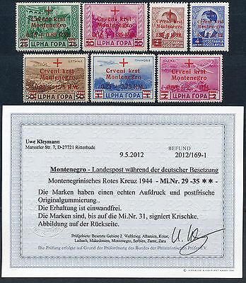 Besetzung Montenegro 1944** Rotes Kreuz Michel 29-35 Befund (S13419)