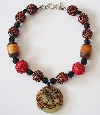 Chinese Carved Jade Dragon Pendant Necklace Cinnabar Nut Beads Sterling Silver