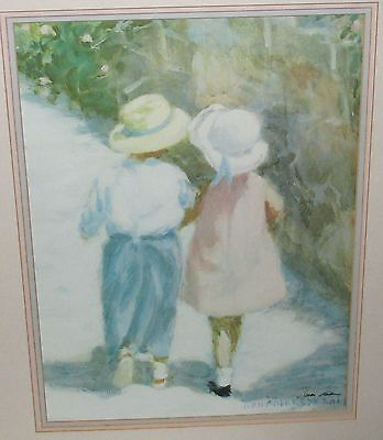 IVAN ANDERSON GIRL AND BOY WALKING HAND SIGNED LARGE LITHOGRAPH on Rummage