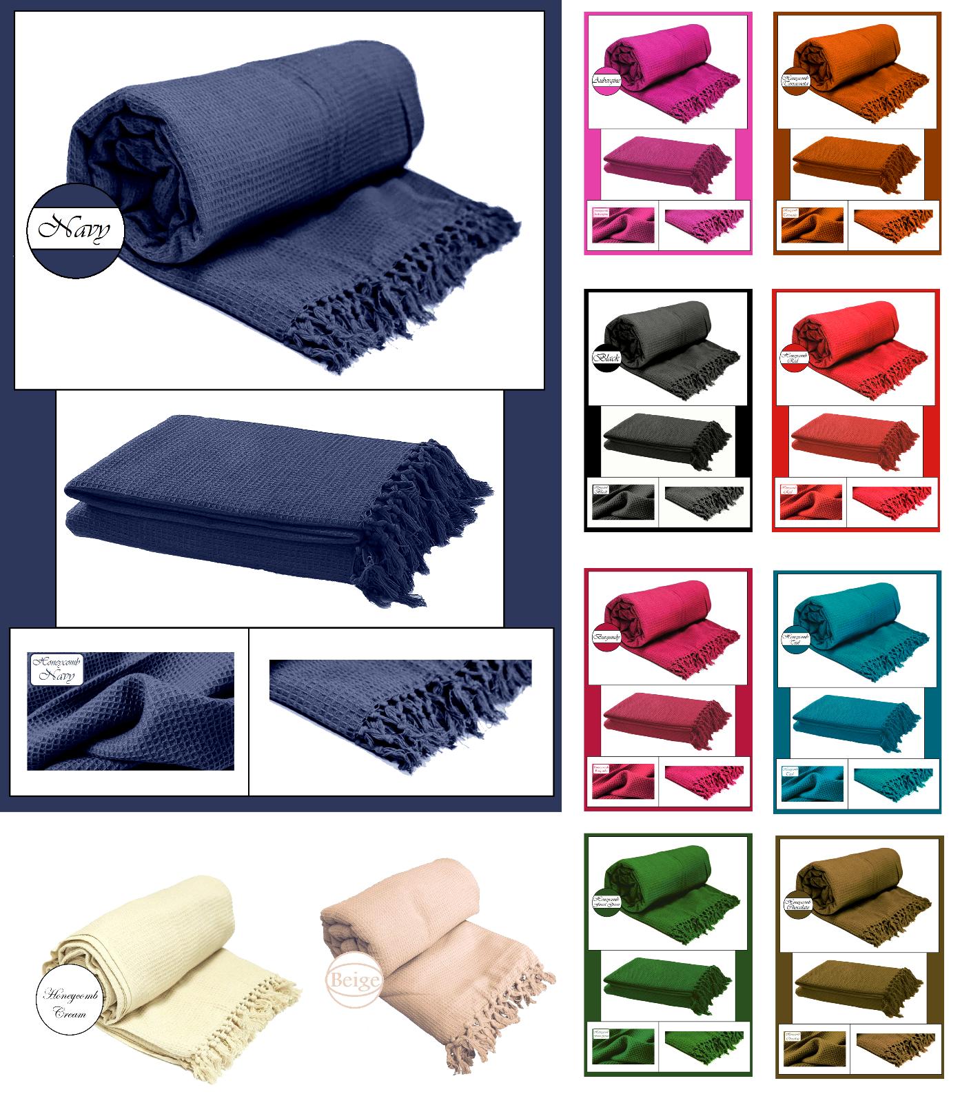 100% Cotton Honeycomb  Sofa - Bed - Throw - Blanket - Bedspr