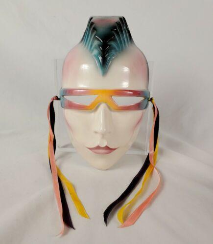 Vintage Clay Art Woman Mask Mohawk Cyberpunk San Francisco Ceramic Wall Art