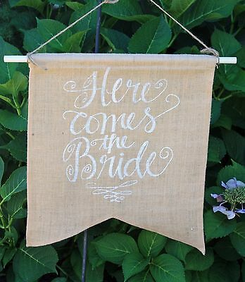 """""""Here Comes the Bride pennant burlap Rustic Wedding Barn White font banner"""