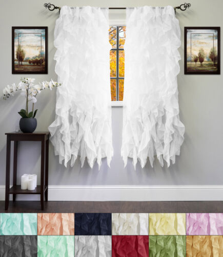 Chic Sheer Voile Vertical Ruffled Tier Window Curtain Single Panel 50″ x 63″ Curtains & Drapes