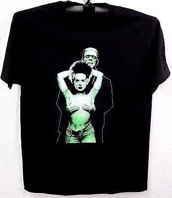 FRANKENSTEIN T-shirt Bride Horror Monster Movie Tee Adult Men Black (Horror Tee T-shirt)