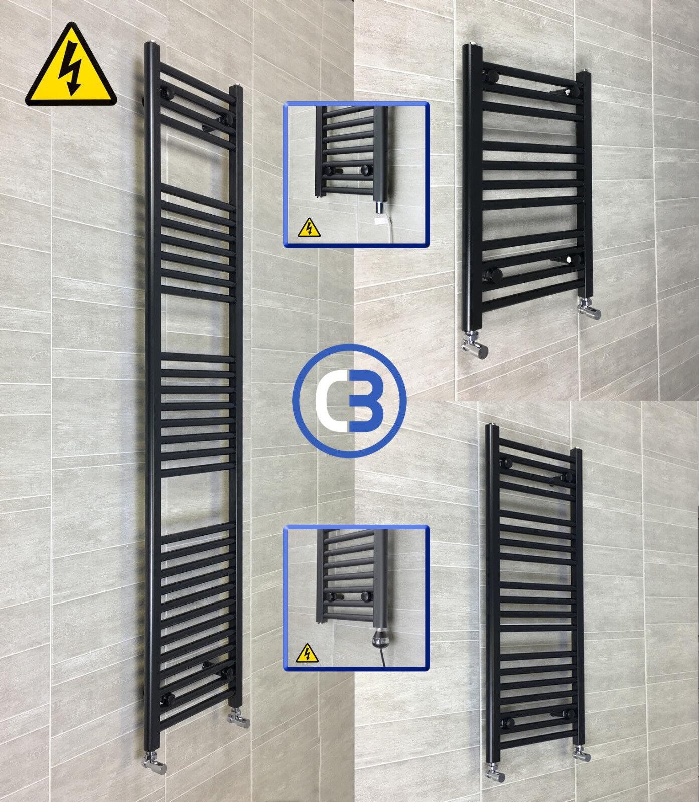 450mm Wide 1800mm High Straight Black Heated Towel Rail Radiator Modern Bathroom