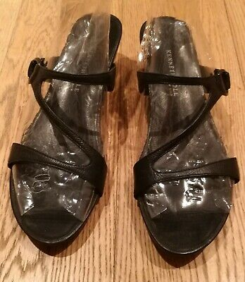 Kenneth Cole Reaction 'City Search' black leather mule sandals UK 7 - 8