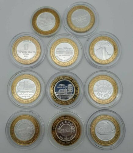 Collection of 11 Nevada .999 Silver $10 Gaming Tokens