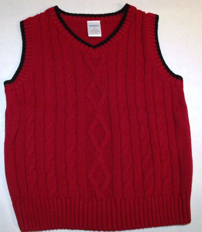 NWOT Gymboree Burgundy Red Blue Cable Knit Preppy Cotton Sweater Vest 3T 4T C-2