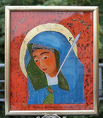 """Traumhaft schöne Hinterglasmalerei """" Mater Dolorosa """" Signiert um 1993 !!!"""
