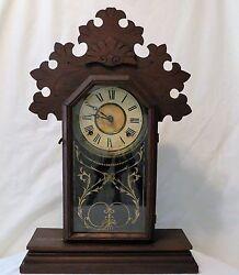 Fabulous Antique E. Ingraham Co. Pendulum Wind-Up Hand Carved Wood Mantel Clock