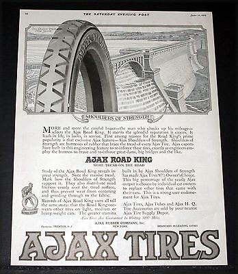 1919 Old Magazine Print Ad  Ajax Road King Tire  Great Strength Like A Dam  Art