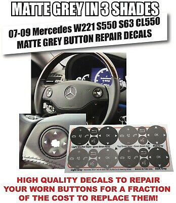 07-09 Mercedes W221 S550 S63 CL550 Steering Wheel Button Repair Decals