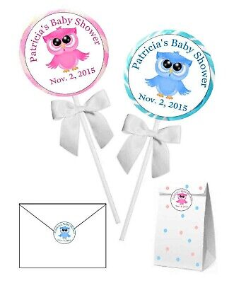 Owl For Baby Shower (OWL BABY SHOWER FAVORS STICKERS LABELS for lollipops, goody bags)
