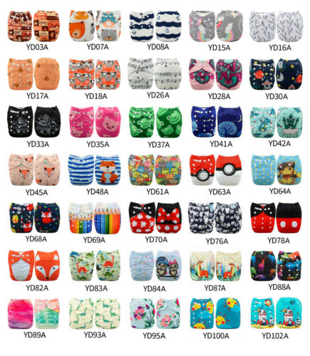 ALVA Baby Cloth Diapers Lot One Size Reusable Washable Pocket Nappies + Insert