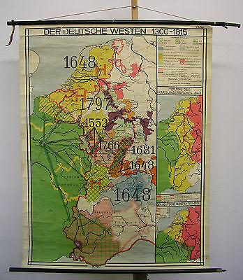 Schulwandkarte Wandkarte Karte Der Westen 1300-1815 Burgund Schweiz 94x120 ~1940