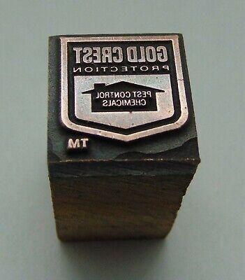 Vintage Printing Letterpress Printers Block Gold Crest Pest Control