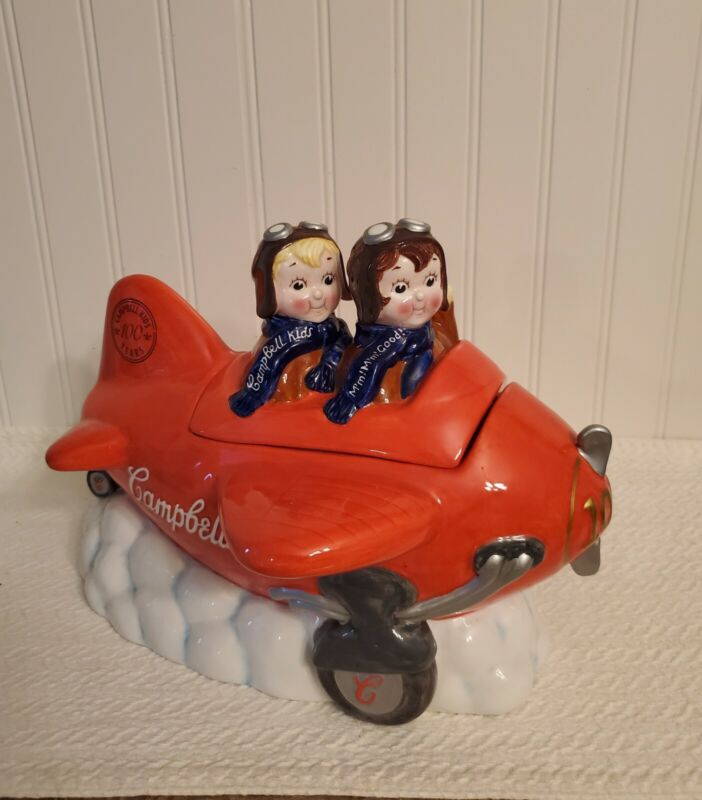 Campbells Kids Cookie Jar Aiming High Airplane 100th Year Limited Edition