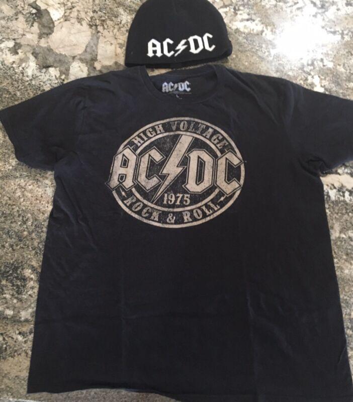 2 AC/DC ITEMS-HAT BEANIE-T-SHIRT Sz L black short sleeve High Voltage MENS